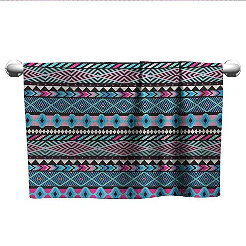 Bensonsve Towel Tribal,Vector Vintage Style Ethnic with Boho Stripes and Shape Image Print,Hot Pink Sky and Dark Blue,Towel Rings for Bathroom ()