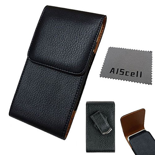 BLU Vivo XL 2 ,Vivo 8L/8 , Vivo 5R, Vivo 6 Vertical Soft Leather Case Pouch Black Swivel Belt Clip Metal Bracket+AIScell Cleaning Cloth (FITS PHONE+PROTECTIVE COVER / SILICONE SKIN CASE) -  All_instore