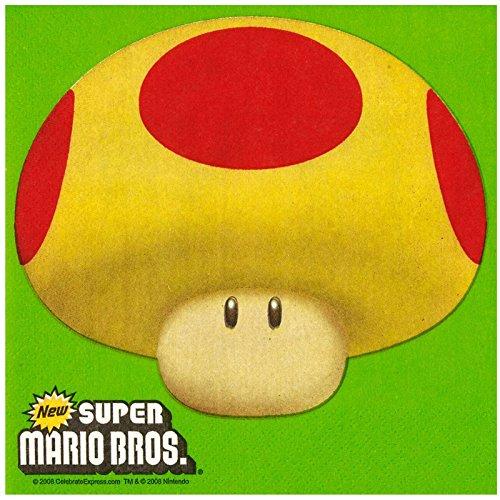 Super Mario Bros Party Supplies - Lunch Napkins (20) (Super Mario Bros Mushroom)