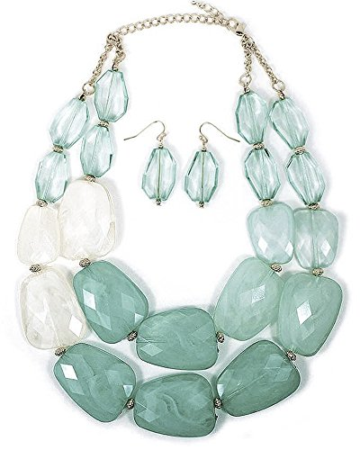 Multi Aquamarine Light Sea Glass Turquoise Mint Green Ivory White Beige Colored Resin Big Chunky Statement Necklace Sea Mint