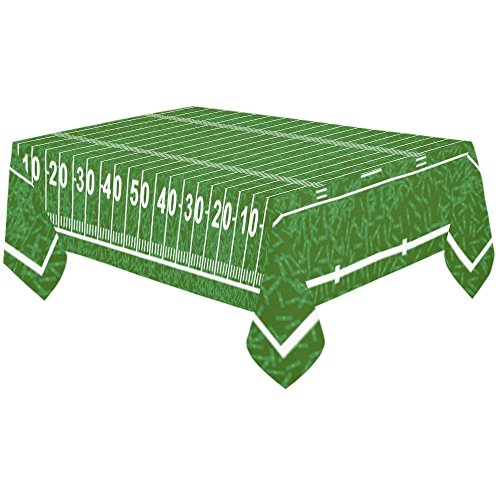 InterestPrint American Football Field Cotton Linen Tablecloth 60 X 120 Inches, Green Sport Play Field Desk Sofa Table Cloth Cover for Christmas Party Decor Home Decorations
