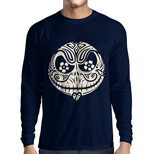 Long sleeve t shirt men The Skull Face -The nightmare - scary Halloween night (Medium Blue Multi Color)
