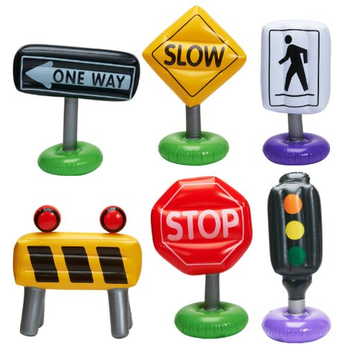 6-pc Incredible Inflatable Traffic Signs Pretend Play Cars Toy Outdoor Indoor (Traffic Signs Plastic)