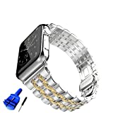 HUANLONG New Solid Stainless Steel Metal Replacement 7 Pointers Watchband Bracelet with Butterfly Clasp for Apple Watch Iwatch Series 1 Series 2 (LS 38mm silver/gold)