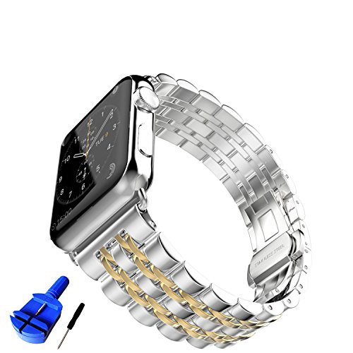 HUANLONG New Solid Stainless Steel Metal Replacement 7 Pointers Watchband Bracelet with Butterfly Clasp Compatible for Apple Watch Iwatch Series 1/2/3 (LS 38mm Silver/Gold)