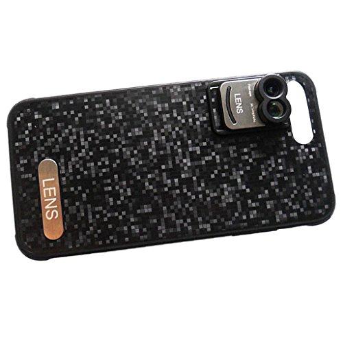 MagiDeal Abdeckungs Fall mit Handy Kamera Clip-on Objektiv für iPhone 7 Plus - Schwarz