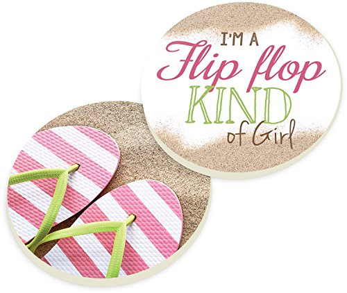 (Flip Flop Kind of Girl Pink Flips 2 Piece Ceramic Car Coasters Set)