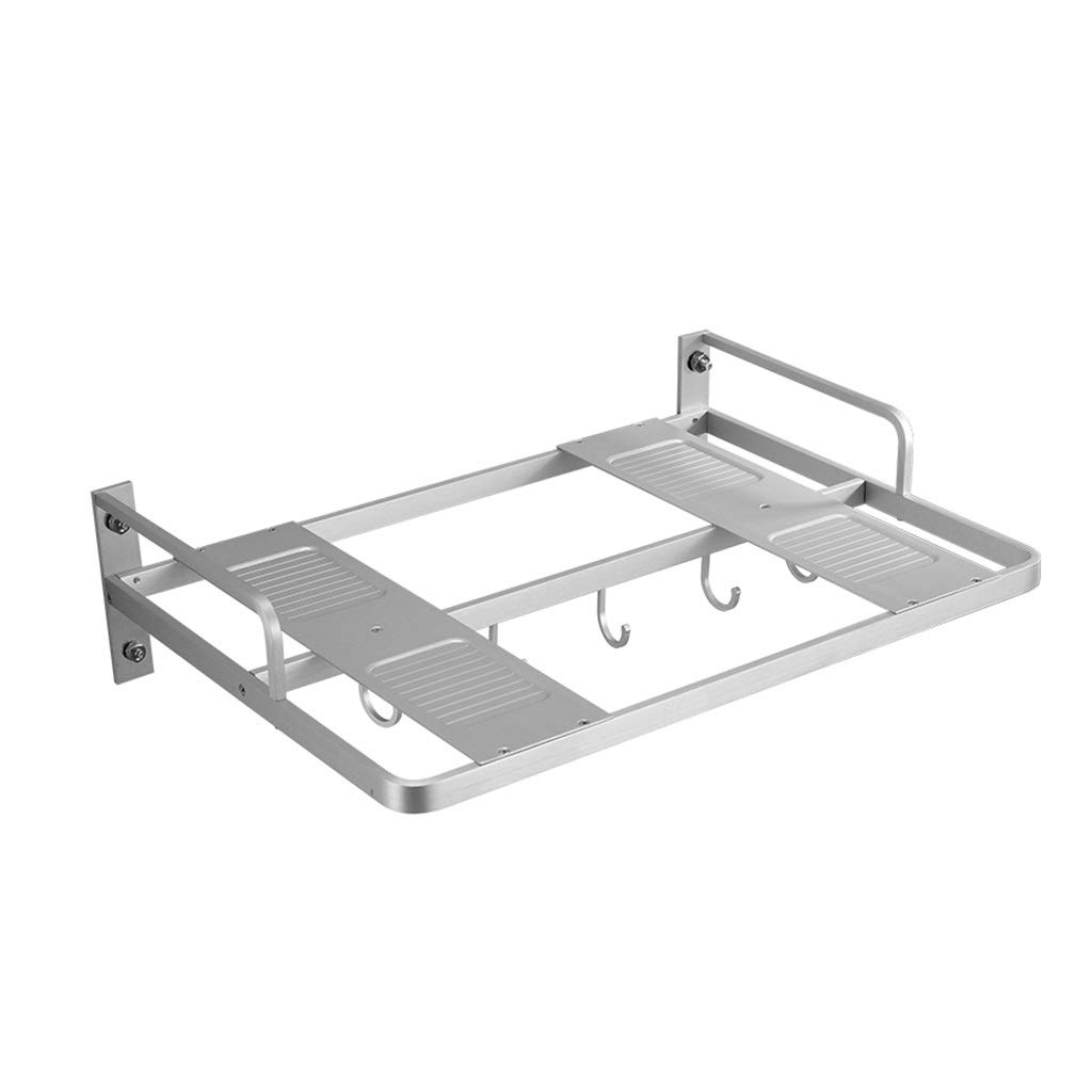 YHY Shelf Space Aluminum Rack Kitchen Wall Mounted Oven Rack Space Aluminum Bracket Bracket/hanger Wall Storage Rack Microwave Rack (Color : SILVER, Size : 554015CM) by YHY