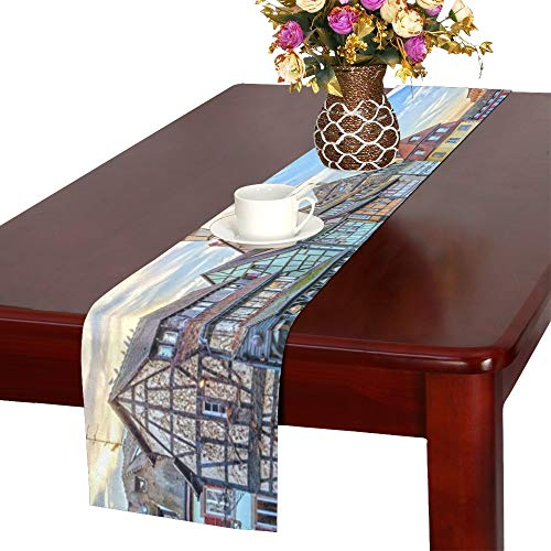 Traditional Halftimbered Houses On Canals District Table Runner, Kitchen Dining Table Runner 16 X 72 Inch for Dinner Parties, Events, Decor