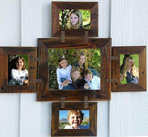 Montana Multi Photo Collage Frame for (1) 8 X 10 and (4) 4 X 6's, 5 Opening Picture Frame Set, Family, Friend, Friendship, Grandkids Mulitframe, Rustic Farmhouse Wall Decor. All Barnwood
