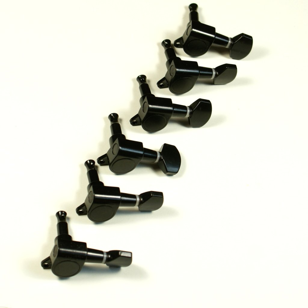 (D15) Set of 6 Machine Heads Tuning Keys Tuners Head Pegs Black -Schaller Style mLaval