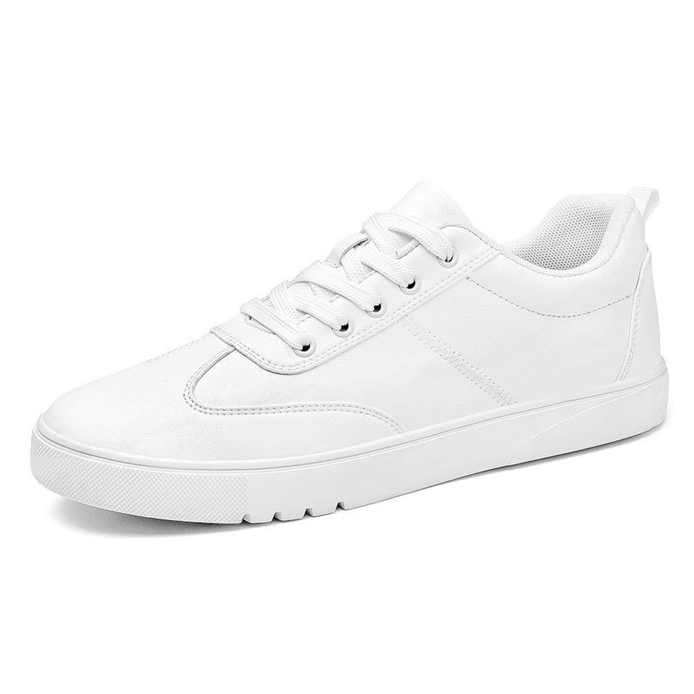 HhGold Männer Turnschuhe Casual Schuhe Flache Schnürschuhe Leder männlich (Farbe   S1768 Weiß, Größe   8=42 EU)