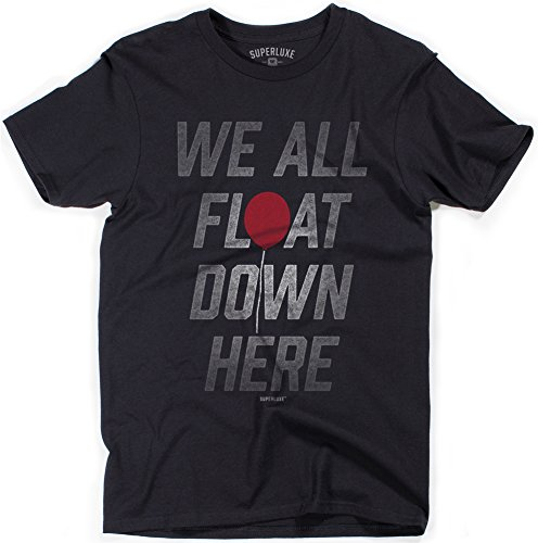 (Superluxe Clothing Mens We All Float Down Here Scary Clown Halloween Costume Horror Movie T-Shirt, Black,)