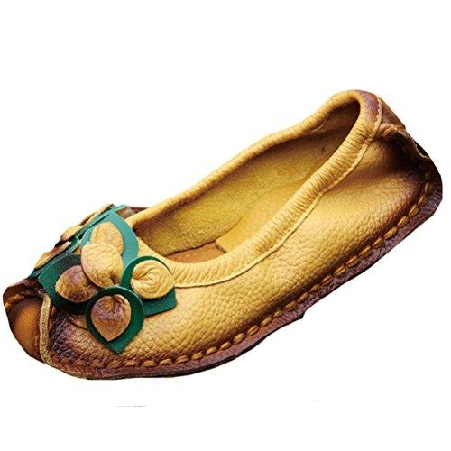 A Mano Stile Fatto Estate Fiori giallo Donne Vogstyle Scarpe Primavera Vintage 4 Pelle xwATYCaq