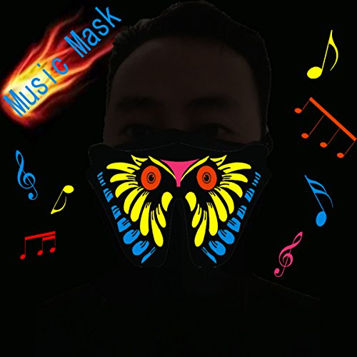Flashingworld Led party Mask with music and sound active for dancing,riding,skating,party and any festival (Music Masquerade Mask)