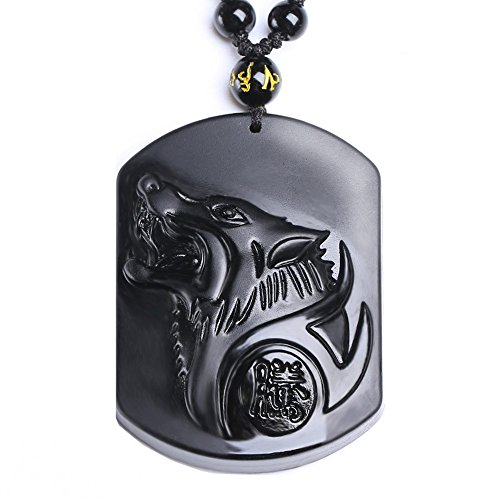 MOHICO Black Obsidian Pendant Necklace, Howling Wolf Head Amulet Black Obsidian Crystal Pendant Necklace Hand Carved Natural Genuine with Extend Bead Chain - Mirror Polished Necklace Ball