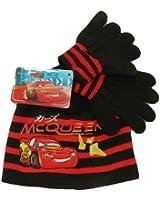 Set Bonnet et Gants Cars noir - Taille : 52 Cm