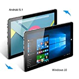 "Windows Tablet, CHUWI Hi10 Plus Windows 10/Android 5.1 Dual Boot 2-in-1 Tablet PC, 10.8"" Full HD Display, featuring Intel X5 Cherry Trail Z8350 Quad Core, 4GB RAM/64GB ROM and Wifi"