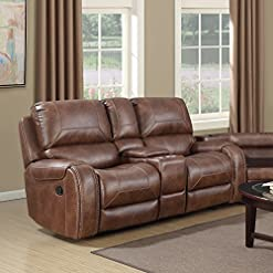 Farmhouse Living Room Furniture Roundhill Furniture Achern Brown Leather-Air Nailhead Manual Reclining Loveseat with Storage Console farmhouse sofas and couches