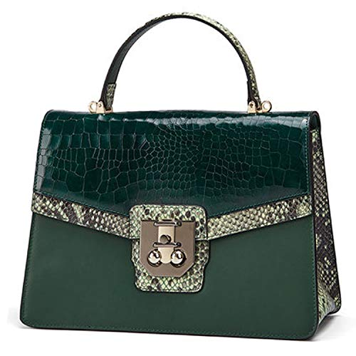 QIWANG Fashion Lady Crocodile Pattern Shoulder Bag Handbag Crossbody Bag with Chain Adjustable shoulder strap (green)