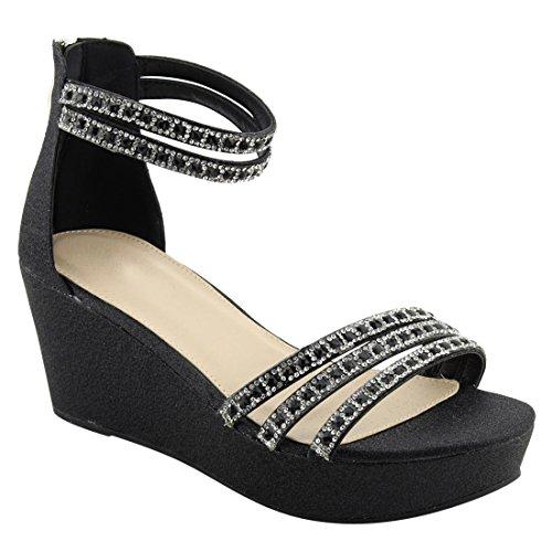 Beston Fq91 Womens Glitter Cinturino Alla Caviglia Con Tacco Avvolto Sandalo Con Zeppa Nero