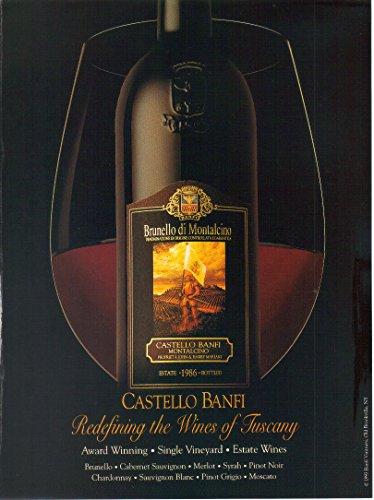 "Magazine Print Ad: 1993 Castello Banfi, Brunello di Montalcino, 1986 Vintage,""Redefining the Wines of Tuscany"""