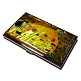 Gustav Klimt Kiss Gold Color Business Credit Card Case Id Holder Metal Travel Wallet Mother of Pearl