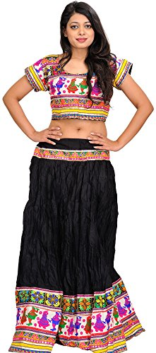 Exotic India Jet-Black Two-Piece Embroidered Lehenga Choli with Dancing Couples by Exotic India