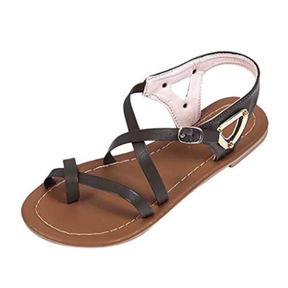 Flat Buckle Sandals for Women - POHOK Women Ladies Summer Casual Big Size Flat Beach Sandals Roman Shoes (Army Green,35)