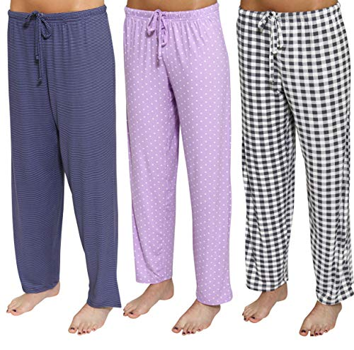 3 Pack: Womens Pajama Pants Ladies Bottoms Summer Clothes Sexy Pijama PJ Silk Sleep Wear Lounge Night Bamboo Palazzo,Set A-Large ()