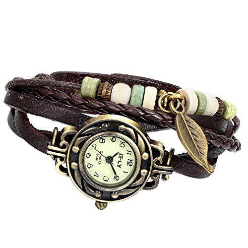 Watch Leather Around Wrap Bangle - Avaner Vintage Handmade Leather Wrist Watch Tree Leaf Women's Lady Wrap Around Quartz Watch Bracelet