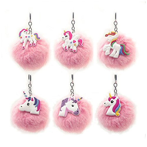6Packs Rainbow Unicorn Keychain, Pink Pom Pom Key ring Soft Faux Fur Ball Bag Pendant Decoration Unicorn Party Favors Supplies (Unicorn)