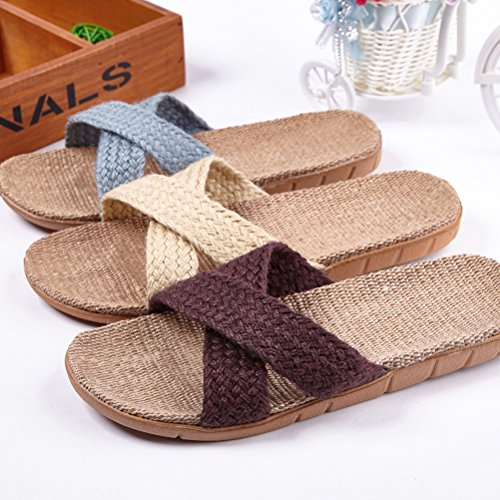 ENCOCO Skidproof 12 Indoor House Summer Striped Unisex Sandals Linen Slippers pqxFpBr