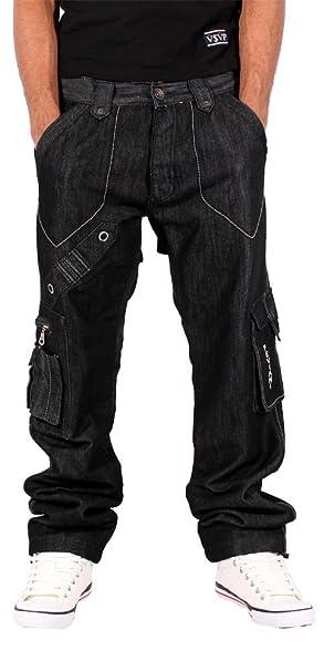 Amazon.com: Peviani Hombre Negro Cargo Combatir Pantalones ...