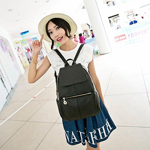 Stillcool bolso de colegio,mochila del hombro de mujer con estilo vintaje(cuero,negro)