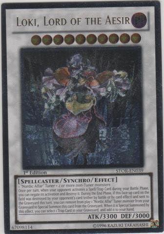 Lord of The Aesir STOR-EN039 Ultra Rare 1st Edition near mint yugioh Loki