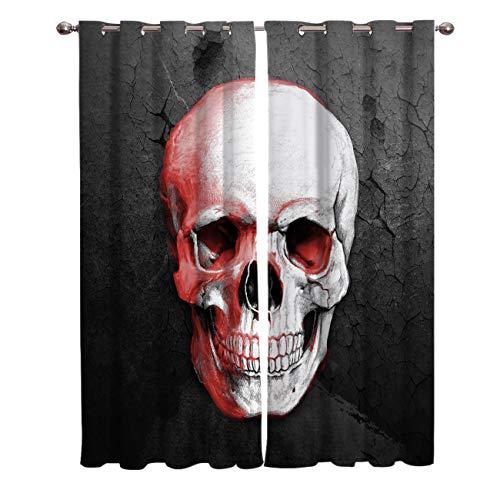 OUR WINGS Halloween Blackout Curtains Living Room Bedroom Light Blocking Window Curtains Room Darkening Curtain Panels Thermal Insulated Grommet Top Drapes 52
