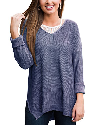 Size 4-34 Women Loose Sweater Top Casual V Neck Shirt Ladies Long Sleeve Tunic