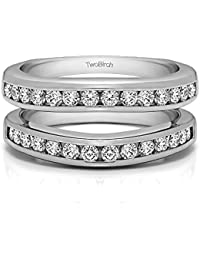 14k gold channel set contour wedding ring with forever brilliant moissanite by charles colvard 066 ct - Wedding Ring Wrap
