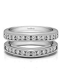 TwoBirch Sterling Silver Channel Set Contour Wedding Ring with Cubic Zirconia (0.66 ct. tw.)
