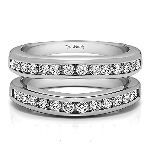 TwoBirch 14k Gold Channel Set Contour Wedding Ring With Brilliant Moissanite (0.66 Ct.)