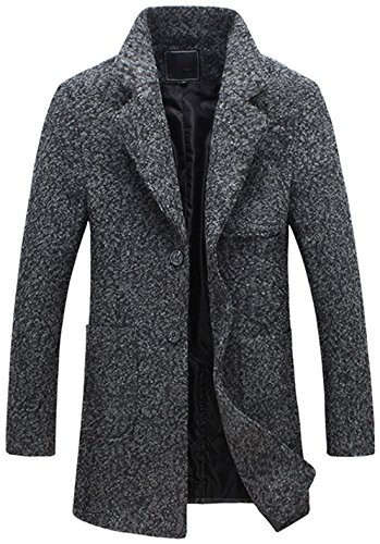 Chouyatou Men's Classic Notched Collar 2 Button Tailoring Wool Blend Tweed Over Coats (Darkgrey, X-Large) (Side Wool Coat Slit)