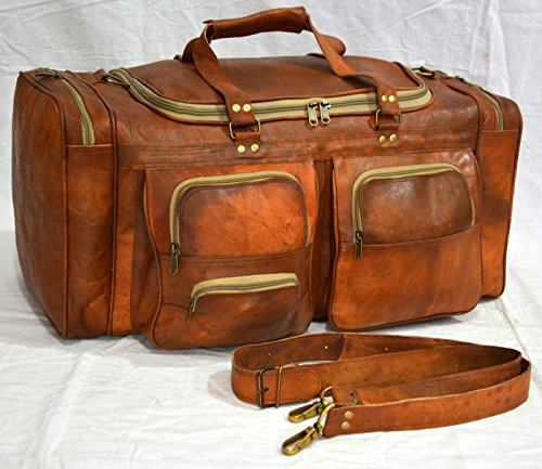 Real goat leather handmade travel luggage vintage holiday trip india duffel bag by thehandicraftworld