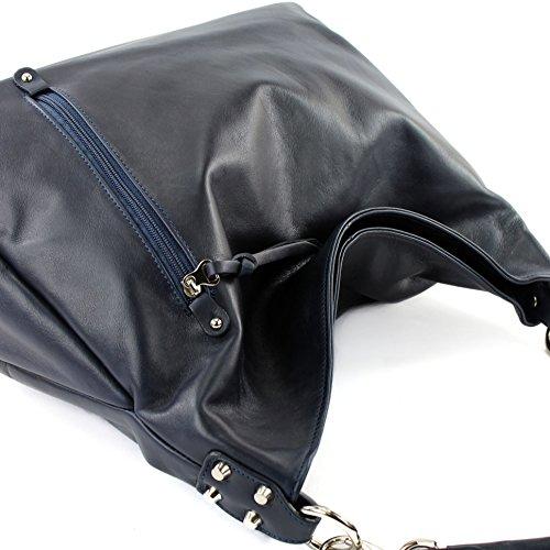 modamoda de - Made in Italy - Bolso al hombro para mujer ver descripción Dunkelblau Nappaleder