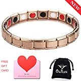 Magnetic Bracelet for Men Women Germanium Magnetic Therapy Bracelet for Arthritis Pain Relief Stainless Steel Titanium Steel Healing Extra High Power Gauss Negative Ion Far Infrared Rose Gold