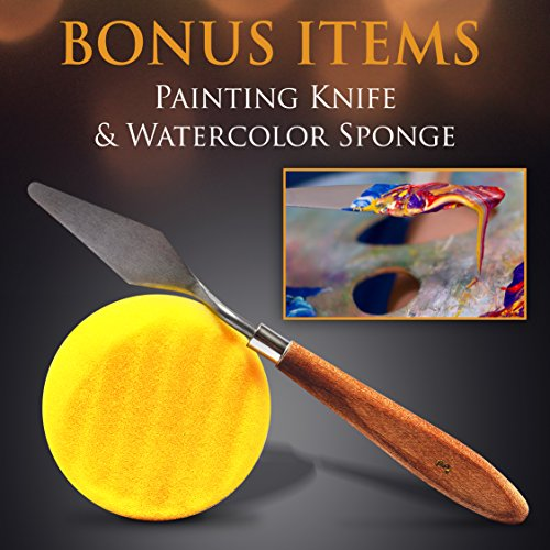Artist-Paint-Brush-Set--15-Different-Brush-Shapes-Sizes--Bonus-FREE-Painting-Knife-Watercolor-Sponge--No-Shed-Bristles--Wood-Handles--For-Body-Paint-Acrylics-Oil