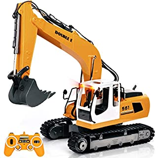 DOUBLE E 17 Channel Full Functional RC Excavator Metal Shovel Remote Control Construction Tractor with 2 Bonus Drill and Grasp