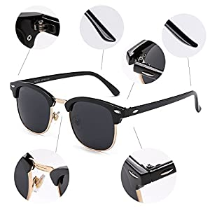 NIEEPA Semi Rimless Polarized Sunglasses Classic Brand Sun Glasses With Metal Retro Rivets (Grey Lens/Bright Black Frame/Gold Rimmed)