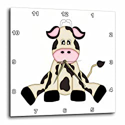 3dRose dpp_210823_2 Cute Black & White Sitting Cow Illustration Wall Clock, 13 by 13