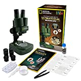 NATIONAL GEOGRAPHIC Dual LED Student Microscope – 50+ pc Science Kit Includes Set of 10 Prepared Biological & 10 Blank Slides, Lab Shrimp Experiment, 10x-25x Optical Glass Lenses and More! (Green)